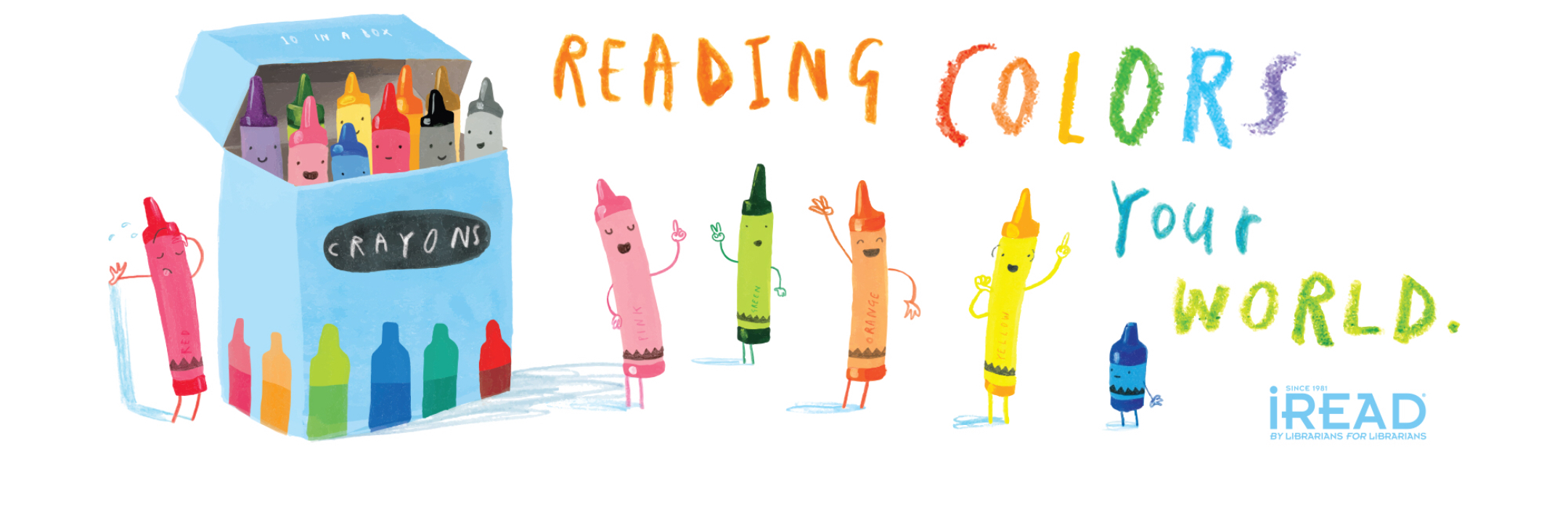 Reading Colors Your World illustration with crayons