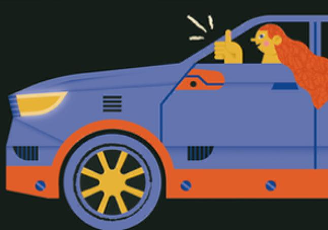 Drive through services linked image graphic depicting a person in a car with a thumbs up